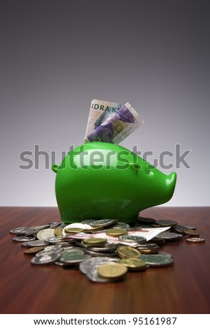 Piggy Bank with Swedish money