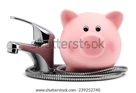 piggy bank with tap water saving concept - stock photo