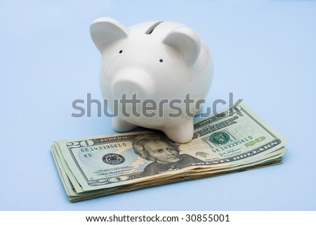 Piggy bank with twenty dollar bills sitting on a blue background, investment