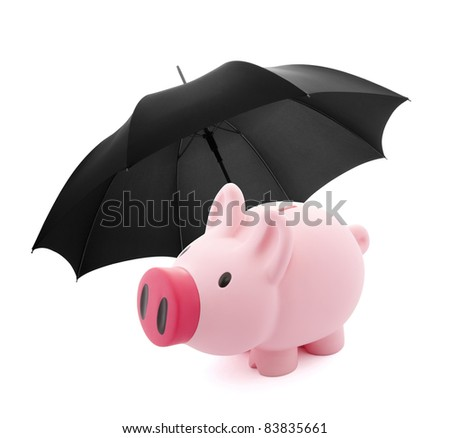 Piggy bank with umbrella