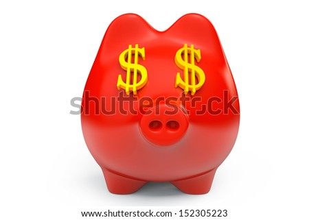 Piggy Bank with USD sign as Eyes on a white background