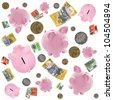 Piggy banks and Australian money falling over white background. - stock photo