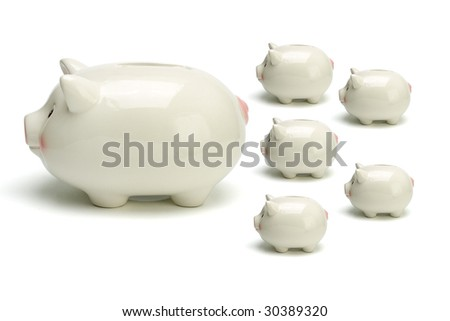 Piggy banks arranged and isolated on white background - stock photo