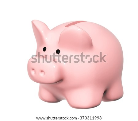 Piggy banks of pink color. Object isolated on white background - stock photo
