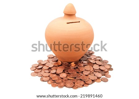 piggy banks with coins on  a white background - stock photo