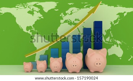 Piggy banks with colorful chart on a map background.  - stock photo