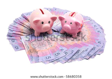 Piggy Banks with Dollar Notes on White Background - stock photo