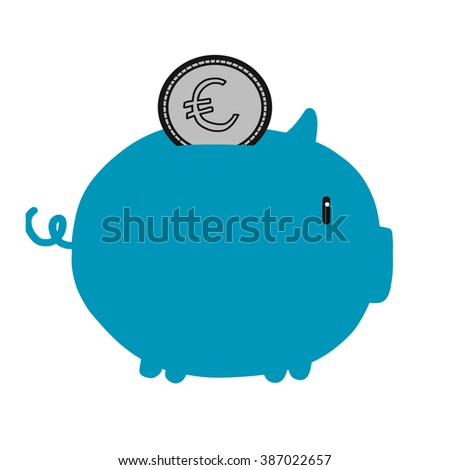 Piggy coin bank Euro money