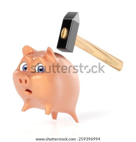 Piggy jumps off - stock photo