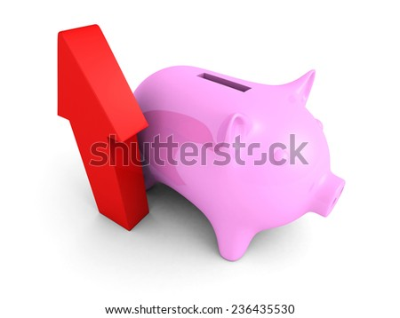 piggy money bank with growing up red arrow. financial success concept 3d render illustration - stock photo
