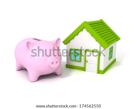 piggy money bank with house real estate green concept - stock photo