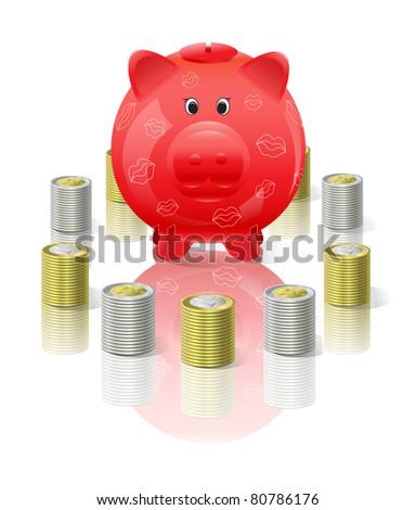 Piggy moneybox with money - stock photo