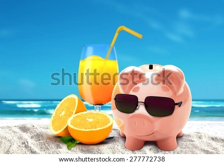 Piggy on vacation at beach - stock photo