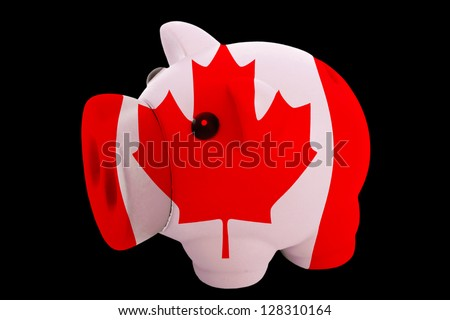 piggy rich bank in colors national flag of canada for saving money on ...