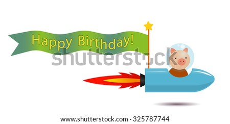 piggy spaceman on the rocket spaceship with flag for greeting inscriptions, captions, headings, headlines, etc - stock photo