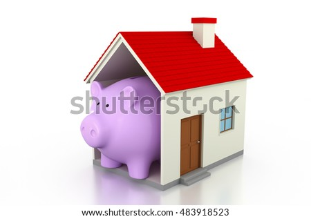 Piggy with Home 3D Rendering Image