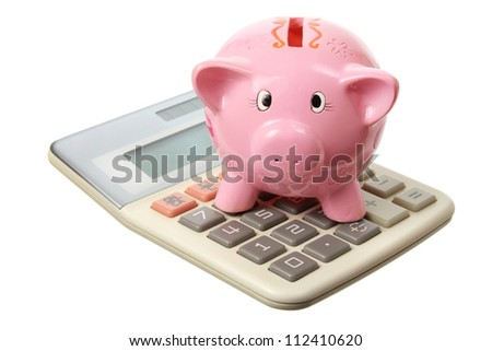 Piggybank and Calculator on White Background