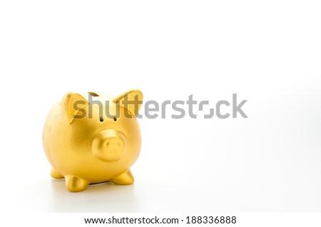 Piggybank isolated on white background - stock photo