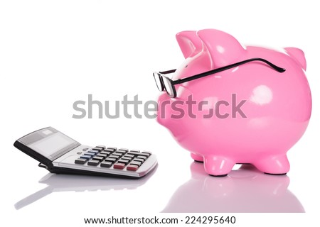 Piggybank looking at calculator. Isolated on white - stock photo