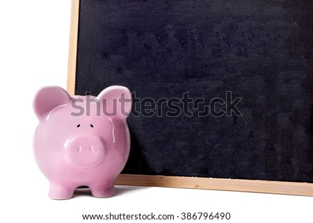 Piggybank small blank blackboard, front view, isolated on white, education savings concept