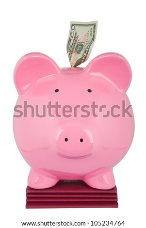 piggybank with fifty dollar on a passport - stock photo