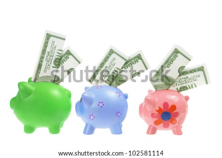 Piggybanks with Banknotes on White Background