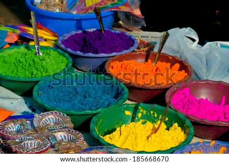 Pigments for sale at a market in Mumbai - stock photo