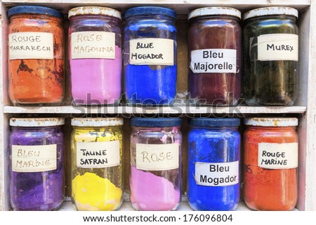 Pigments for sale on a market, Morocco - stock photo