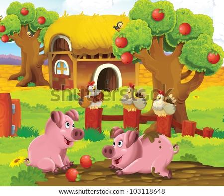 Pigs at the farm playground - stock photo