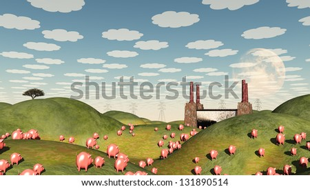 Pigs move like lemmings toward factory - stock photo