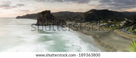 Piha Beach, New Zealand/ Piha Beach on Auckland's west coast is one of New Zealand's most iconic beaches  - stock photo