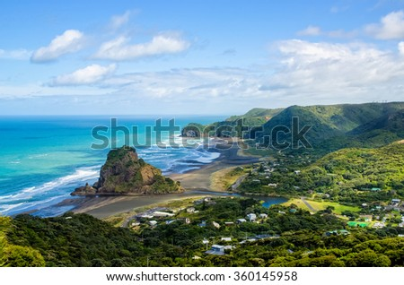Piha beach which is located at the West Coast in Auckland,New Zealand. - stock photo