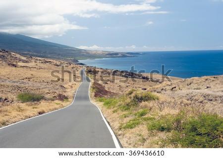 Piilani Highway, Maui, Hawaii -1 - stock photo