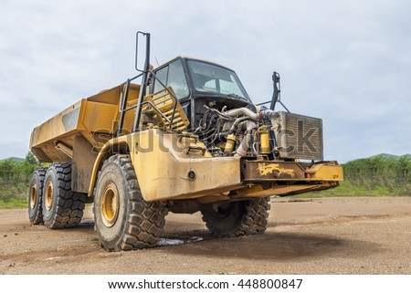 PIJITRA, THAILAND - July 2,2016 : Dump truck park for mantainance and repair in work site at Akara Resources the largest gold mine in Southeast Asia in Pijitra province Thailand.