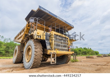PIJITRA, THAILAND - July 2,2016 : Dump truck parking in work site at Akara Resources the largest gold mine in Southeast Asia in Pijitra province Thailand.