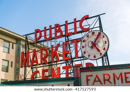 pike place market or public market center in summer season,Seattle,Washington,usa.  for editorial use only -04/08/16.