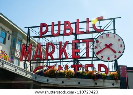 Pike Place Market, Seattle WA, August 2012 - stock photo