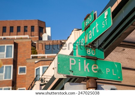 Pike place street sign in downtown Seattle. - stock photo