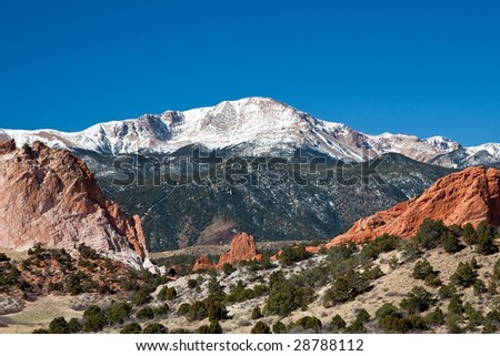 Pikes Peak and Garden of the Gods - stock photo