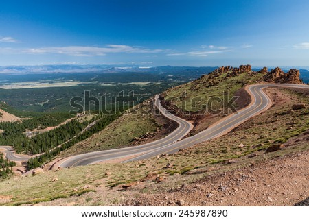 Pikes Peak Road - stock photo