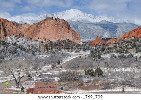 Pikes Peak Soaring over the Garden of the Gods near Colorado Springs, Colorado in mid Winter - stock photo