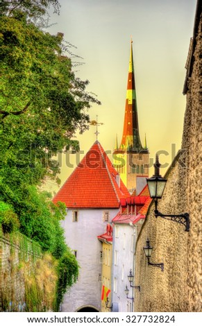 Pikk jalg street in Tallinn - Estonia - stock photo