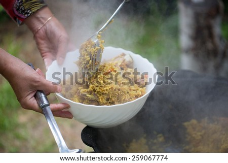 Pilaf, cooked outdoors photo for you - stock photo