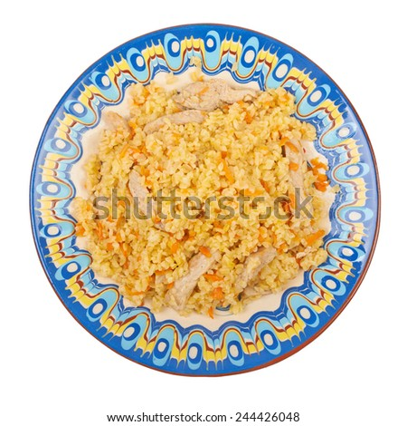 Pilaf dish, bulgur wheat with meat on ceramic plate isolated on white background - stock photo