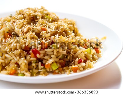 Pilaf plate isolated on white background - stock photo