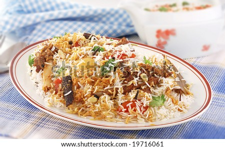 pilaf rice for 2 servings - stock photo