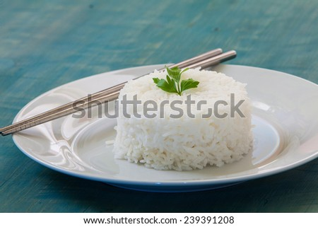 pilaf rice on white plate with two chopstick - stock photo
