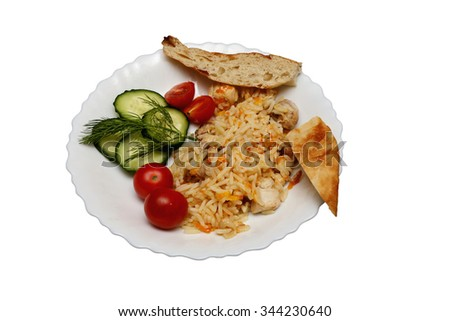 pilaf with chicken pita bread and vegetables on the plate. isolated - stock photo