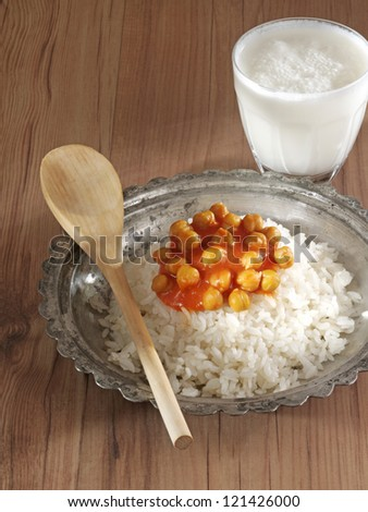 pilaf with chickpea - stock photo