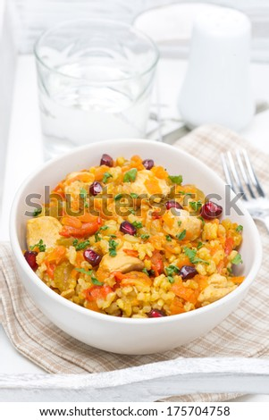 pilaf with vegetables, chicken and pomegranate in a bowl, vertical